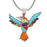 Sterling Silver Hummingbird Pendant Multi Gemstone P3219-C71