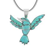 Sterling Silver Hummingbird Pendant Turquoise P3219-C75