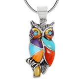 Sterling Silver Owl Pendant Multi Gemstone P3224-C01