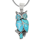Sterling Silver Owl Pendant Turquoise P3224-C05