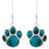 Sterling Silver Paw Earrings Matrix Turquoise E1240-C84
