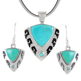 Sterling Silver Pendant & Earrings Set Turquoise PE4042-C75