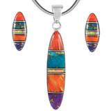 Sterling Silver Pendant & Earrings Set Multi Gemstones PE4008-C00