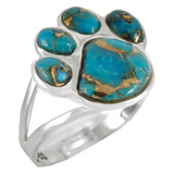 Paw Ring Sterling Silver Matrix Turquoise R2405-C84