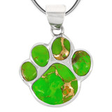 Sterling Silver Paw Pendant Green Turquoise P3178-C76