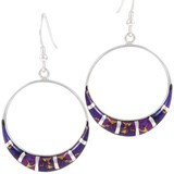 Sterling Silver Earrings Purple Turquoise E1260-C07