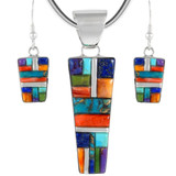 Sterling Silver Pendant & Earrings Set Multi Gemstones PE4012-C52