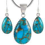 Sterling Silver Pendant & Earrings Set Matrix Turquoise PE4056-C84