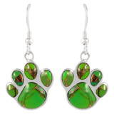 Sterling Silver Paw Earrings Green Turquoise E1240-C76