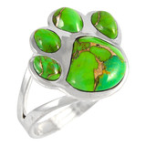 Paw Ring Sterling Silver Green Turquoise R2405-C76