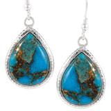 Sterling Silver Earrings Matrix Turquoise E1269-C84
