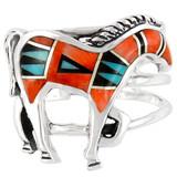 Horse Ring Sterling Silver Multi Gemstone R2018-C03