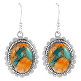 Sterling Silver Earrings Spiny Turquoise E1282-C89
