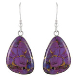 Purple Turquoise Drop Earrings Sterling Silver E1058-C77