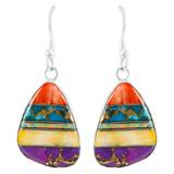 Multi Gemstone Drop Earrings Sterling Silver E1058-C00