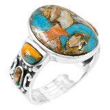 Spiny Turquoise Ring Sterling Silver R2434-C89