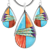 Multi-Gemstone Turquoise Pendant & Earrings Set Sterling Silver PE4054-C01