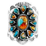 Spiny Turquoise Ring Sterling Silver R2413-C89