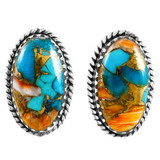 Spiny Turquoise Earrings Sterling Silver E1297-C89