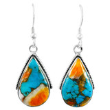 Spiny Turquoise Drop Earrings Sterling Silver E1298-C89
