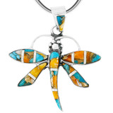 Spiny Turquoise Dragonfly Pendant Sterling Silver P3274-C89