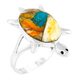 Spiny Turquoise Turtle Ring Sterling Silver R2235-C89