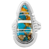 Spiny Turquoise Ring Sterling Silver R2404-C89