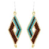 Faux Beaded Earrings Brown YE7001-C3