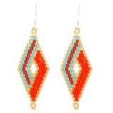 Faux Beaded Earrings Orange YE7001-C4