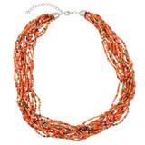 Faux Beaded Necklace Orange YN9001-C2