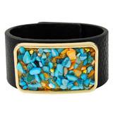 Faux Leather Bracelet Blue & Orange YB8003-C1