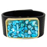 Faux Leather Bracelet Aqua YB8003-C2