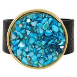 Faux Leather Bracelet Aqua YB8004-C2