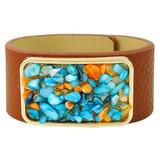 Faux Leather Bracelet Blue & Orange YB8005-C1