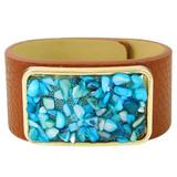 Faux Leather Bracelet Aqua YB8005-C2