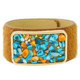 Faux Fur Bracelet Blue & Orange YB8006-C1