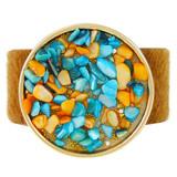 Faux Fur Bracelet Blue & Orange YB8007-C1