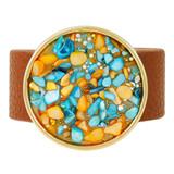 Faux Leather Bracelet Blue & Orange YB8008-C1