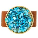 Faux Leather Bracelet Aqua YB8008-C2