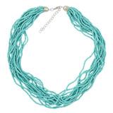Faux Beaded Necklace Sky Blue YN9001-C1
