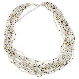 Faux Beaded Necklace White YN9001-C4
