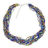 Faux Beaded Necklace Navy YN9001-C3