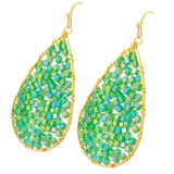 Faux Beaded Drop Earrings Lime YE7002-C2