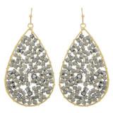 Faux Beaded Drop Earrings Grey YE7002-C4