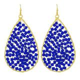 Faux Beaded Drop Earrings Blue YE7002-C5