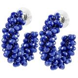 Faux Beaded Hoop Earrings Navy Blue YE7003-C1