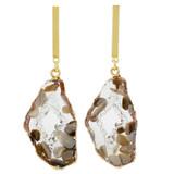 Faux Floating Stones Drop Earrings Brown YE7005-C1