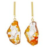 Faux Floating Stones Drop Earrings Orange YE7005-C2