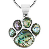 Sterling Silver Paw Pendant Abalone Shell P3178-C10