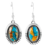 Sterling Silver Drop Earrings Spiny Turquoise E1308-C89